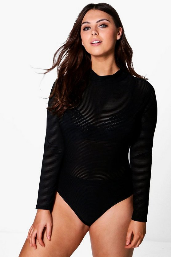 Plus Cate Long Sleeve Turtleneck Rib Body