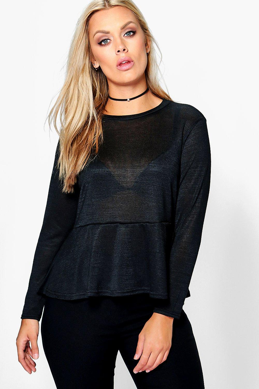 Plus Jess Knitted Peplum Top