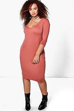 Plus Clarissa Strap Front V Neck Bodycon Midi Dress
