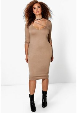 Plus Clarissa Strap Front V Neck Bodycon Midi Dress
