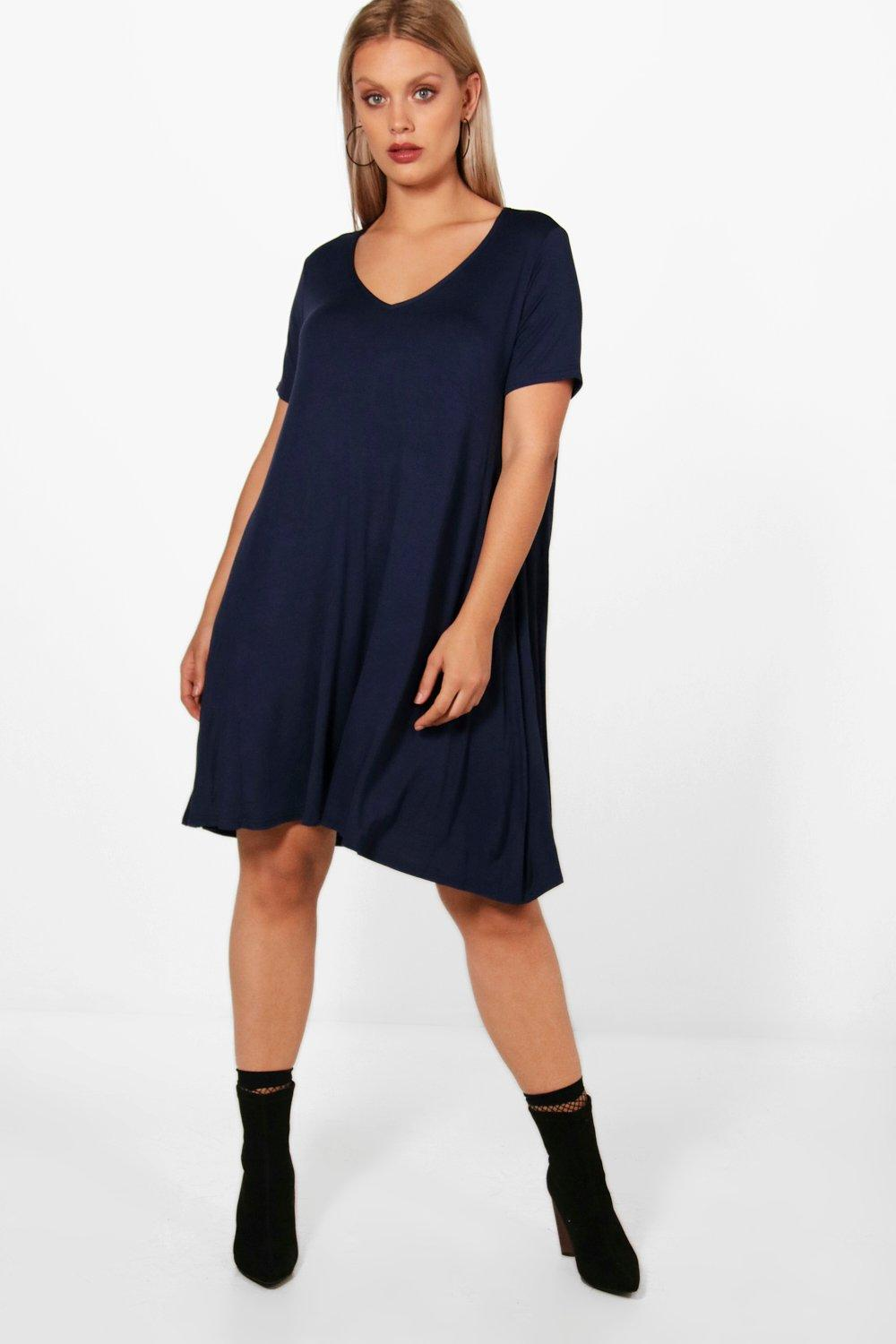 Plus Suzie Basic V Neck Swing Dress