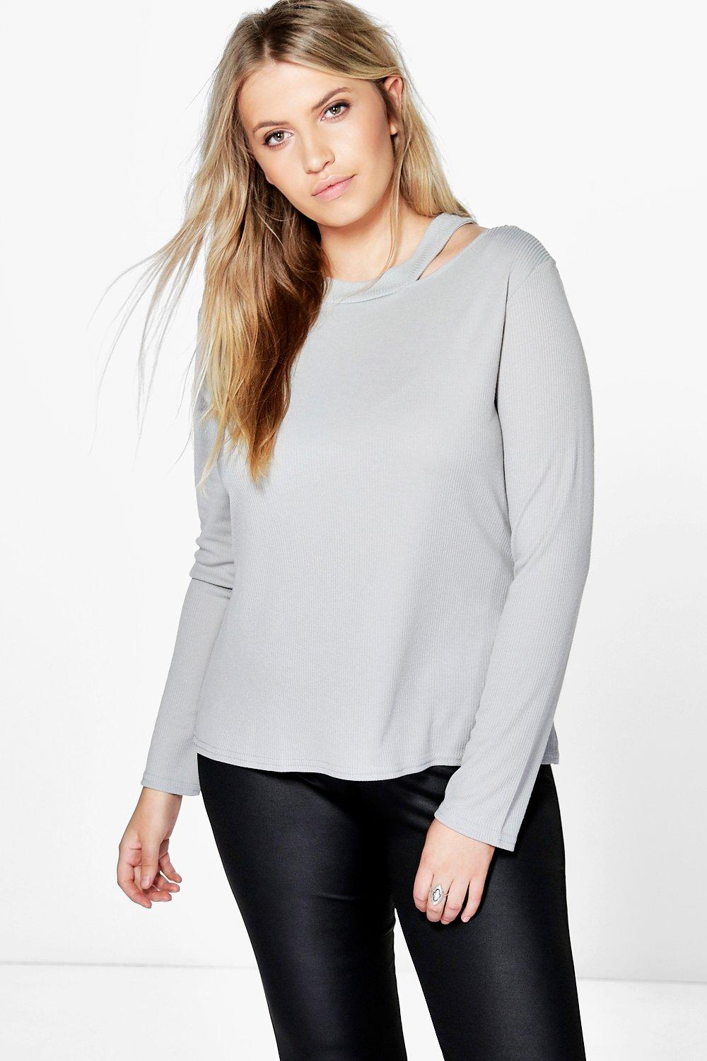 Plus Amerie Cut Out Neck Rib Knit Top