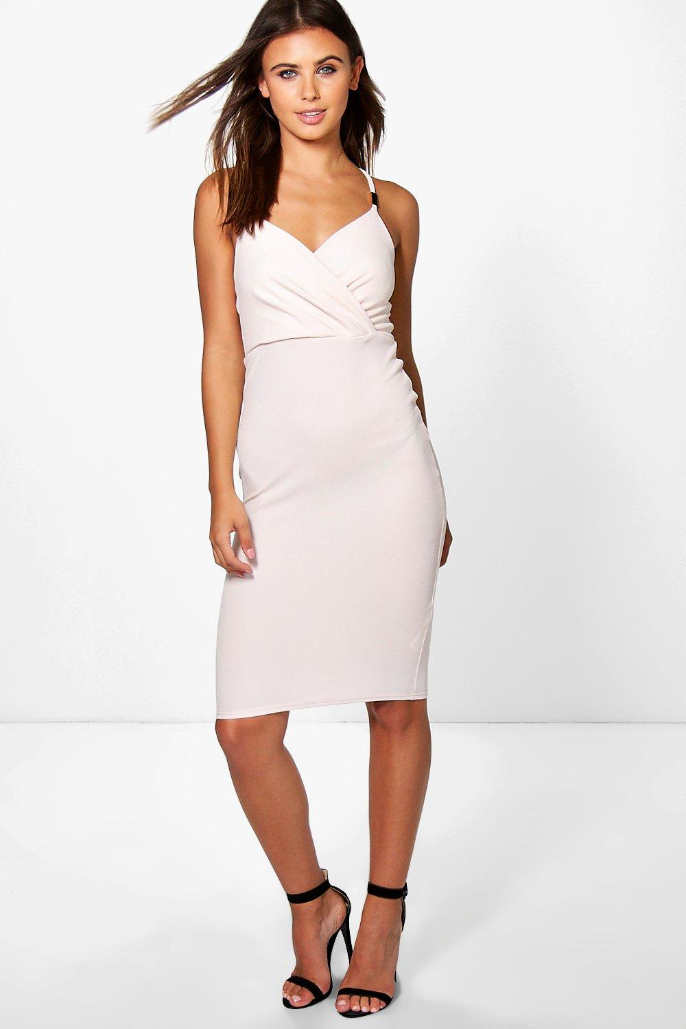 Petite Lizzie Trim Wrap Front Midi Dress