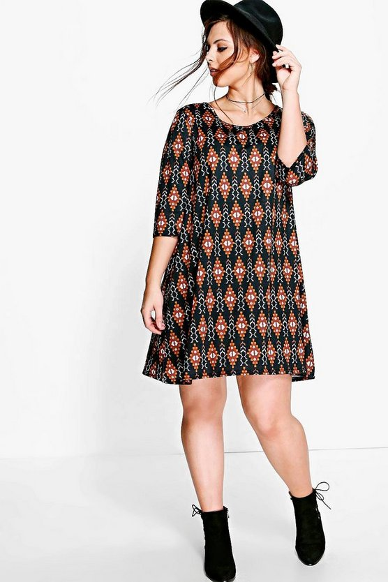 Plus Kirsty Aztec Swing Dress