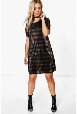 Plus Annabelle Pleated Bronze Shift Dress
