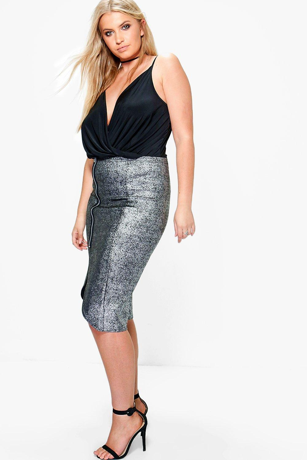 Plus Suzanna Zip Side Split Midi Skirt