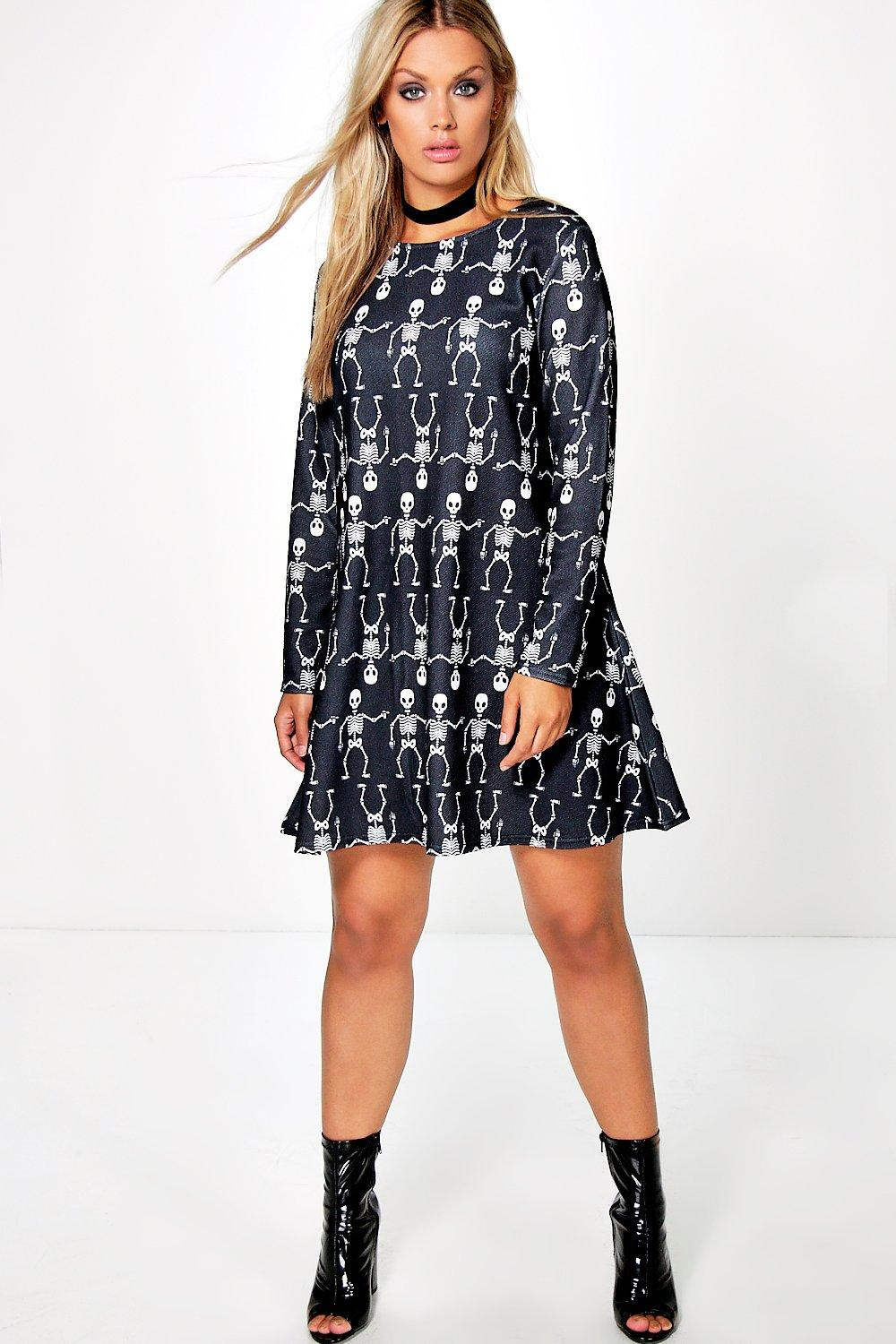 Plus Sadie Skeleton Novelty Halloween Swing Dress