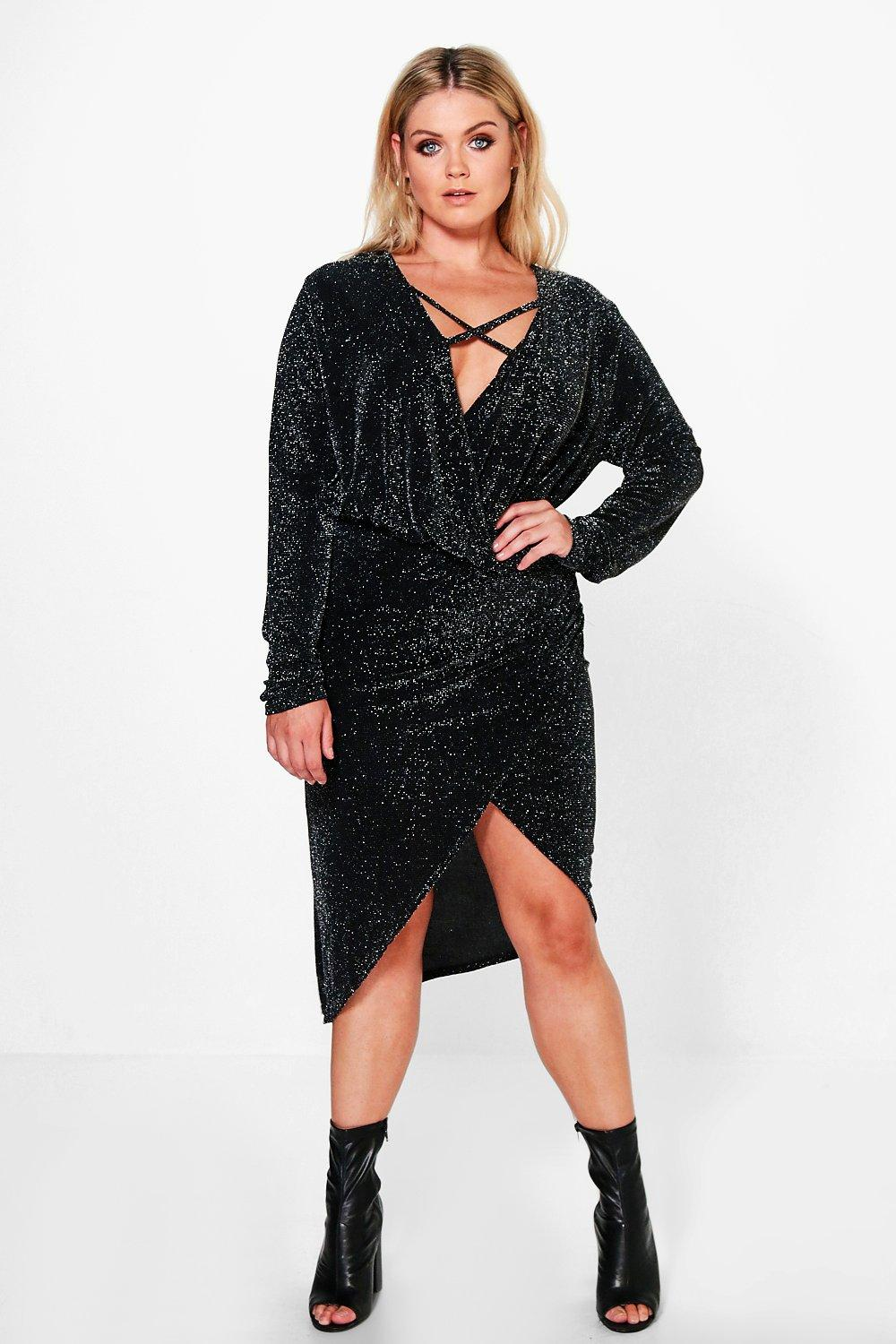 Plus Kassie Shimmer Wrap Front Dress