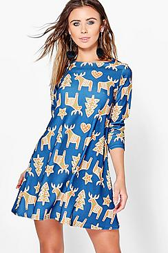 Petite Millie Reindeer Printed Swing Dress