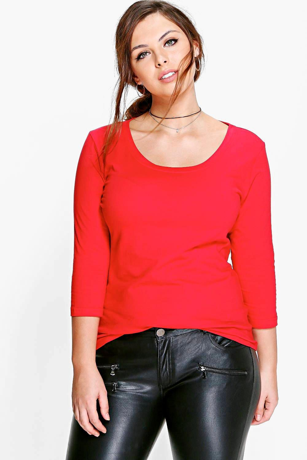 Plus Janey 3/4 Sleeve Scoop Neck T-Shirt