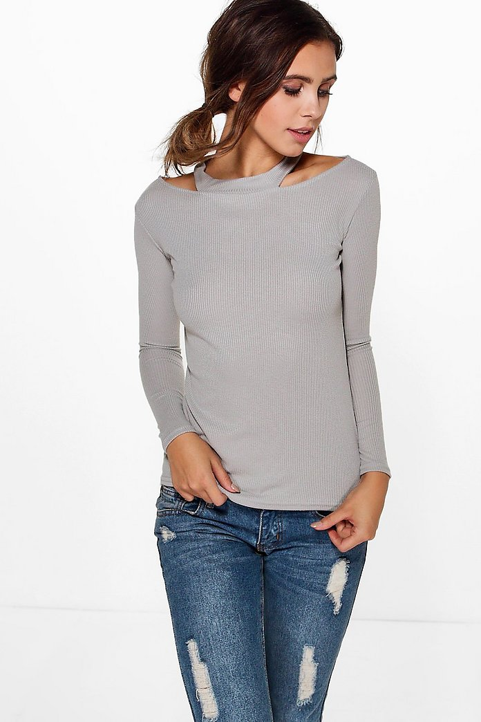 Petite Paige Rib Cut Out Neck Top