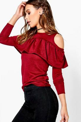 Petite Sophie Cold Shoulder Frill Knitted Top