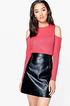 Petite Elin Rib Knit Cold Shoulder Crop Top