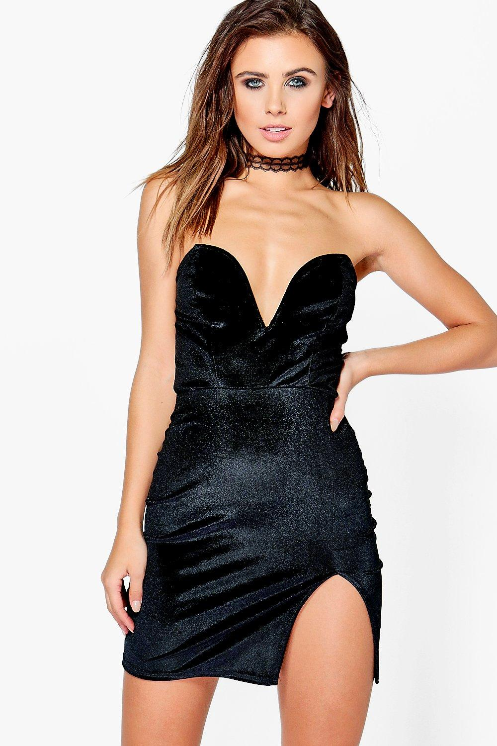 Petite Kasey Plunge Velvet Mini Bodycon Dress
