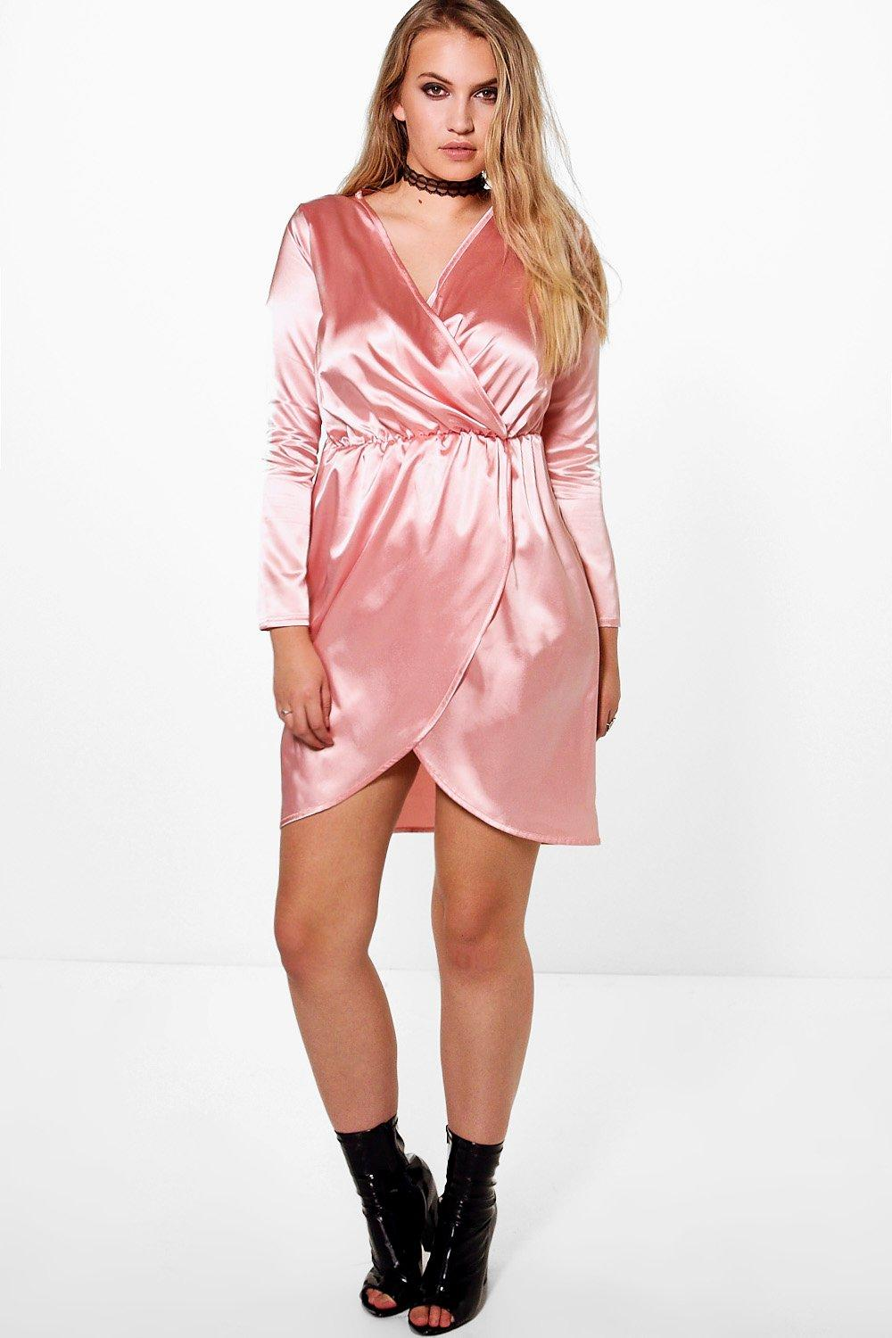 Plus Leah Satin Wrap Dress