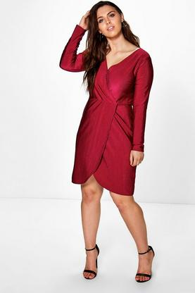Plus Lottie Wrap Over Slinky Rib Dress