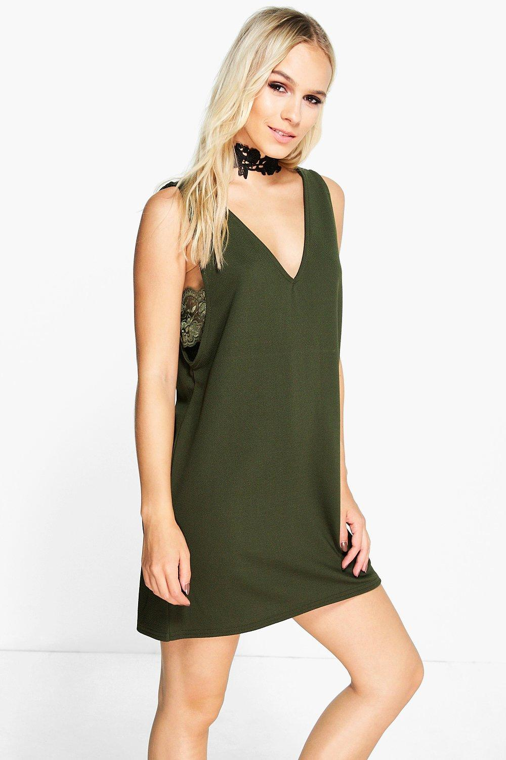 Petite Lisa Side Cut Out Lace Trim Mini Dress