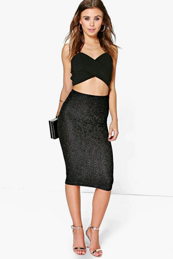 Petite Alexandra Metallic Midi Bodycon Skirt