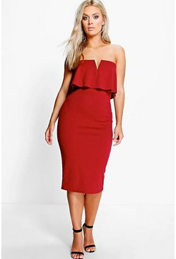 Plus Polly Bandeau Frill Bodycon Dress