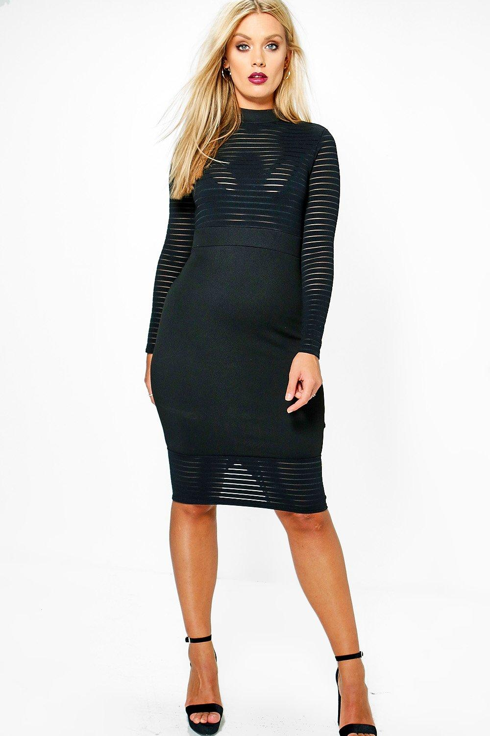 Plus Alisha Mesh Stripe Bodycon Dress