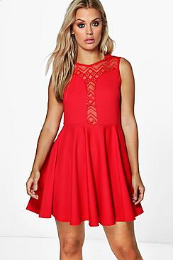 Plus Tilly Lace Detail Skater Dress