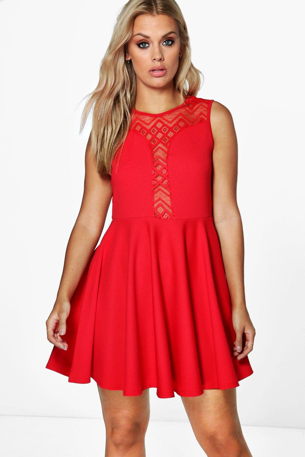 Plus Tilly Lace Detail Skater Dress at boohoo.com