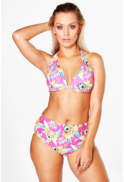 Plus Amy Tropical Floral Print High Waist Bikini