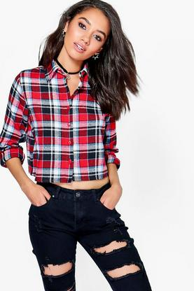 Petite Harriet Cropped Check Shirt