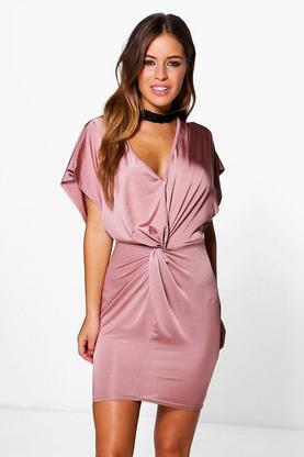 Petite Liv Kimono Sleeve Knotted Bodycon Dress