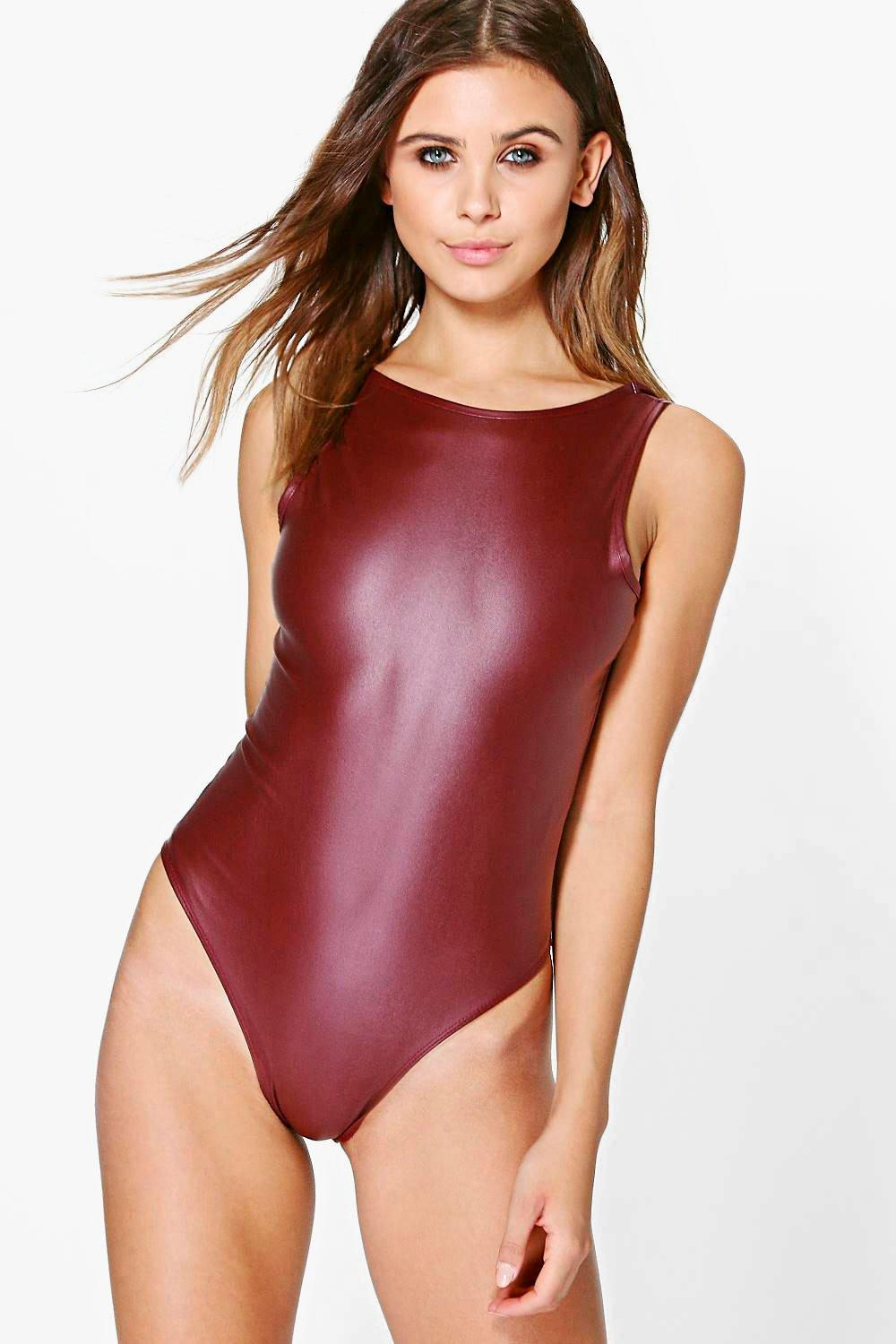 Petite Suzanna PU Scoop Back Bodysuit