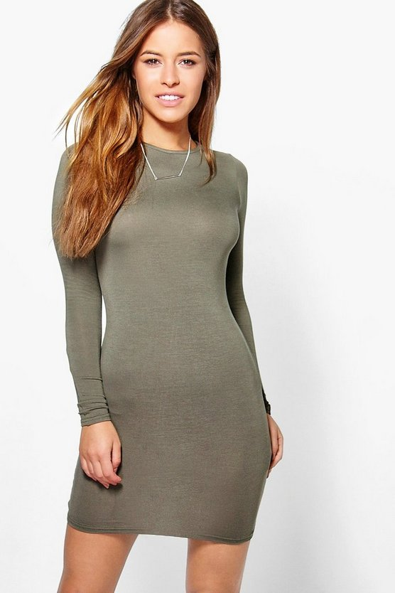 Petite Liz Basic Long Sleeve Mini Bodycon Dress