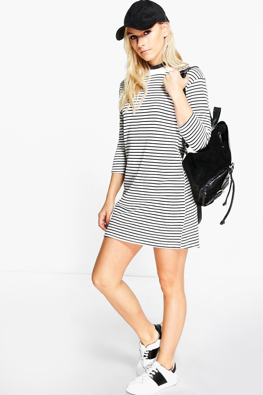 Petite Lilly 3/4 Sleeve Stripe T-Shirt Dress