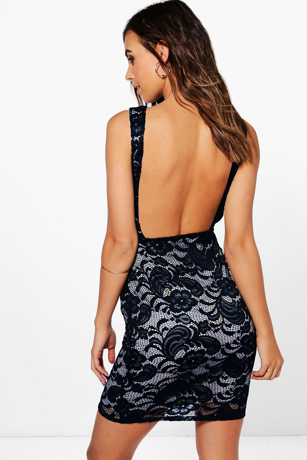 Petite Amy Backless Lace Bodycon Dress