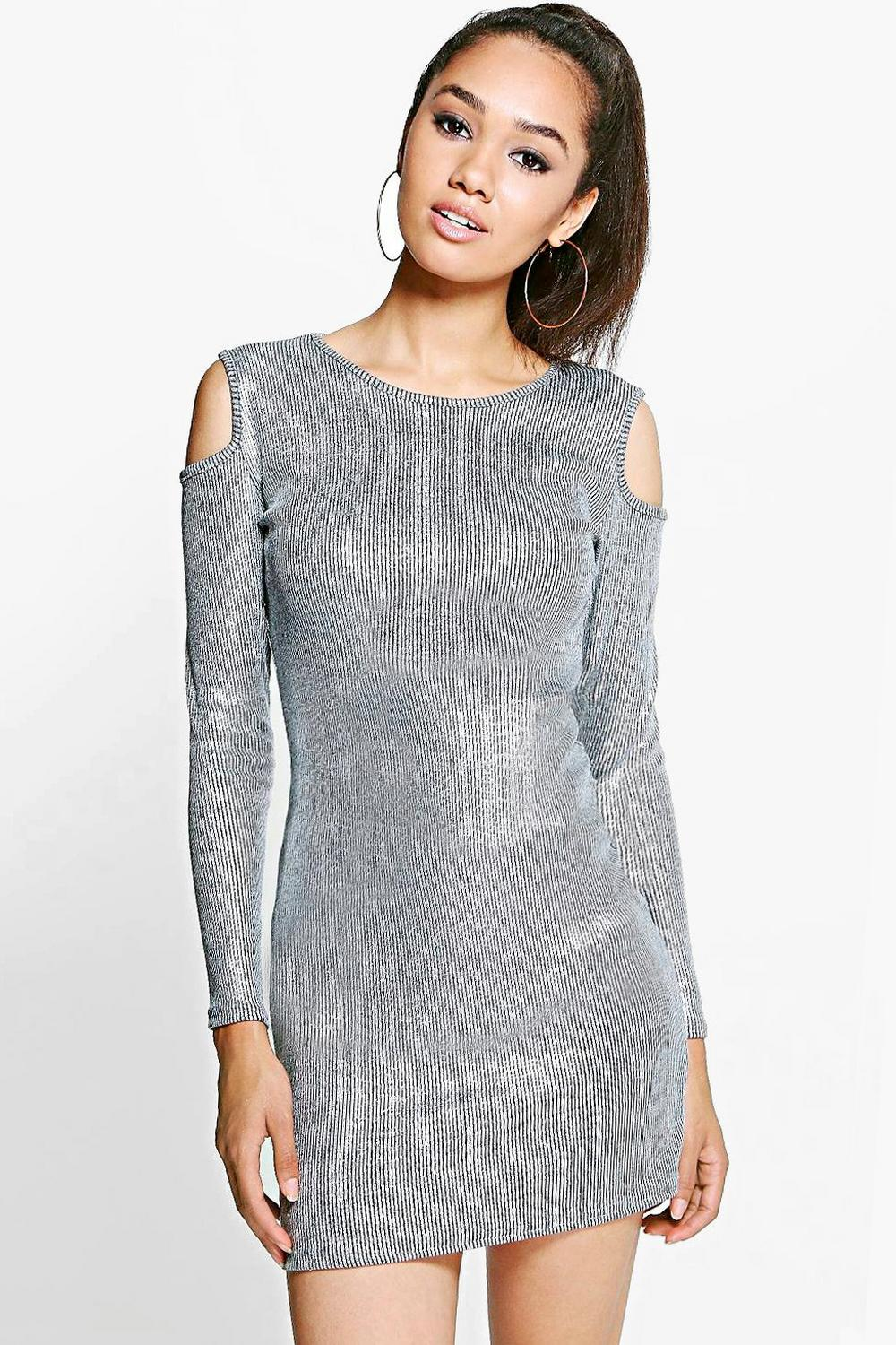 Petite Emily Cold Shoulder Metallic Rib Dress