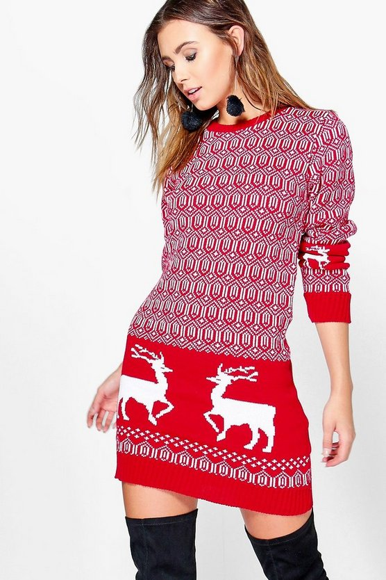 Petite Lara Reindeer Christmas Knit Dress
