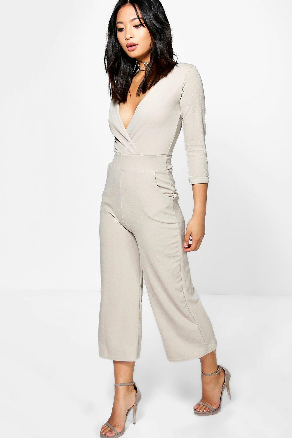 Petite Nora Roll Sleeve Relax Culotte Jumpsuit