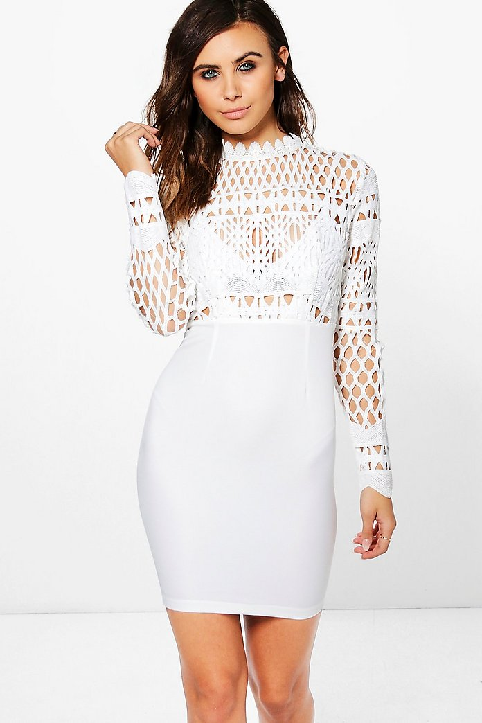 Petite Alivia Crochet Lace Top Bodycon Dress