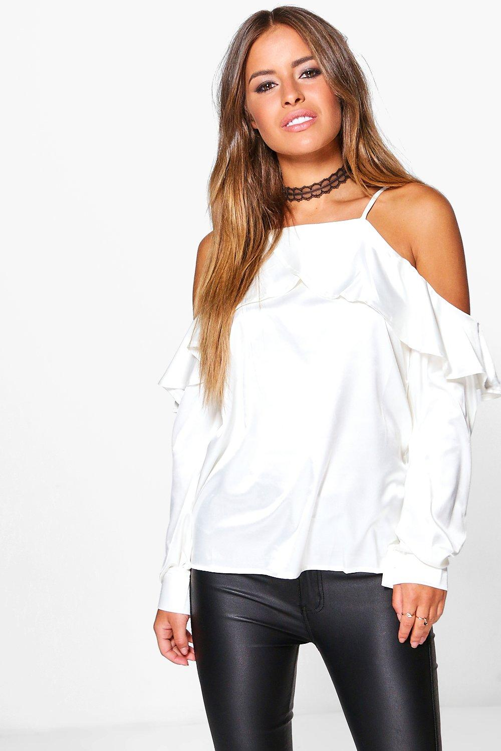 Petite Holly Ruffle Open Shoulder Satin Blouse