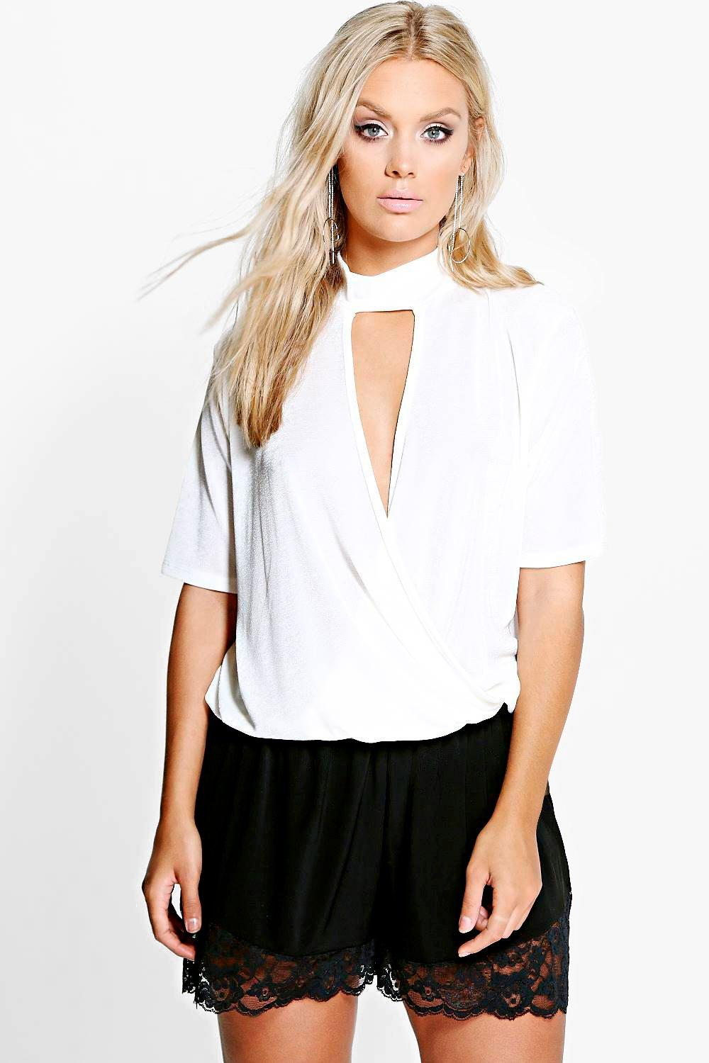 Plus Jesca High Neck Wrap Front Top