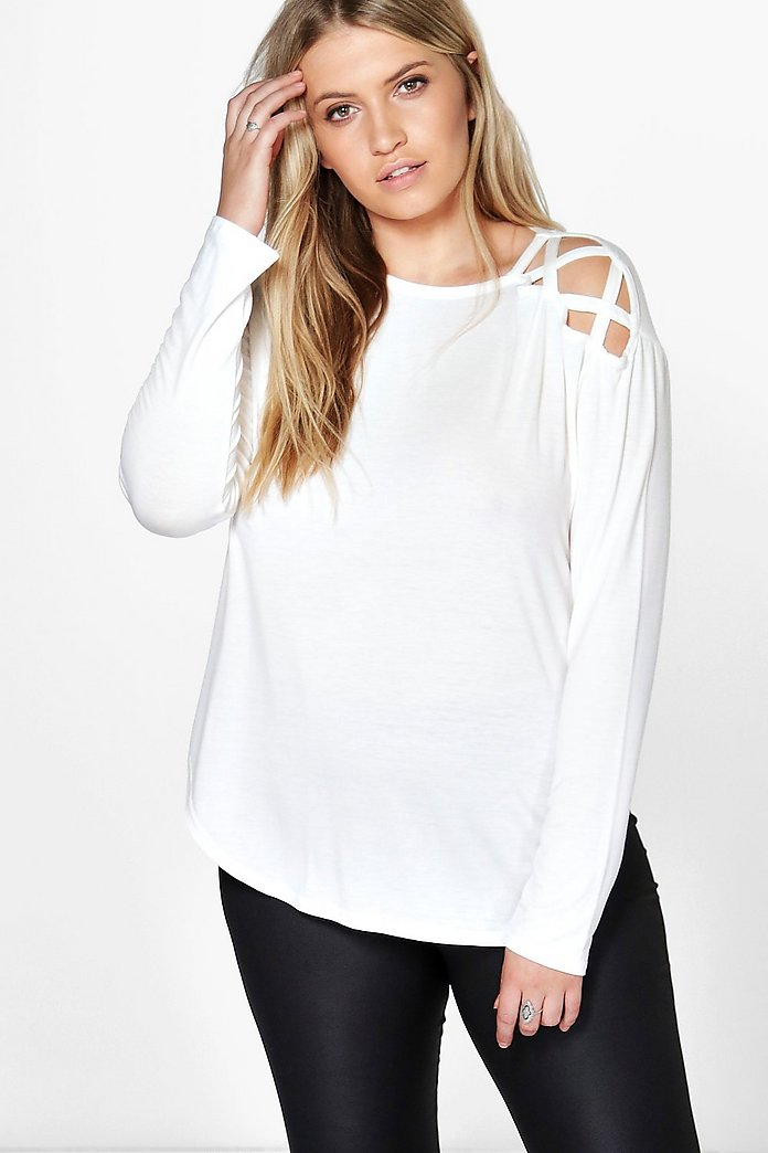 Plus Kaylee Long Sleeve Lace Up Detail Tee