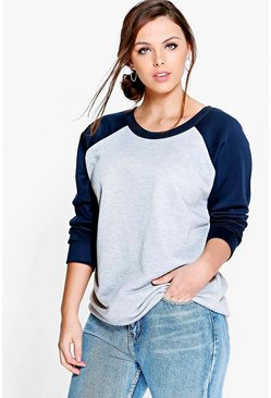 Plus Jodie Contrast Sleeve Raglan Sweat