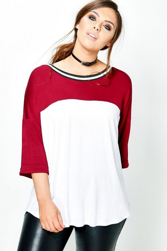 Plus Hannah Colour Block Rib Detail Tee