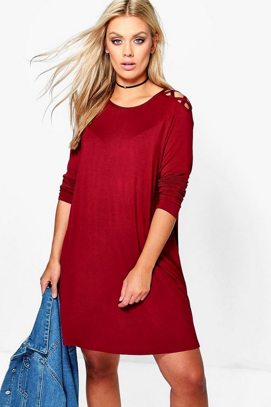 Plus Cat Lace Up Detail Long Sleeve Swing Dress