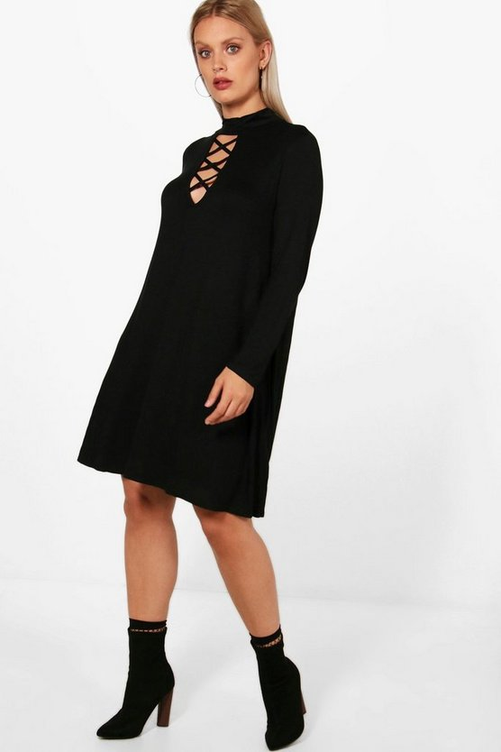 Plus Fay Tie Neck Long Sleeve Swing Dress
