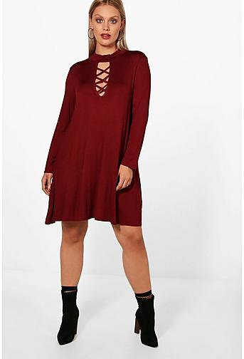 Plus Fay Tie Neck Long Sleeve Swing Dress