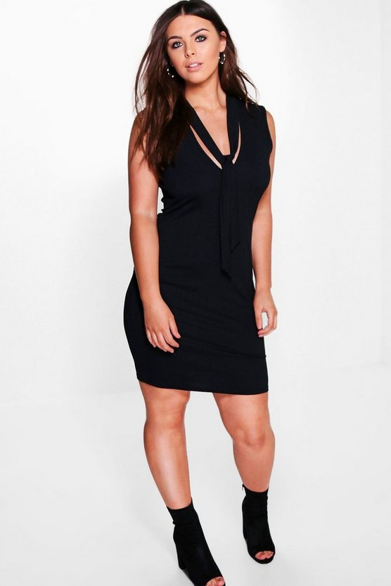 Plus Elisha Tie Neck Midi Dress