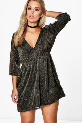Plus Sophia Glitter Plunge Dress