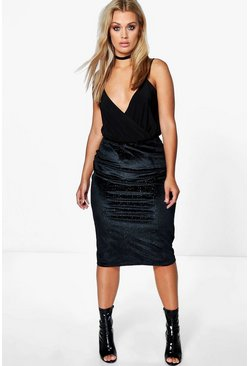 Plus Eve Velvet Shimmer Midi Skirt