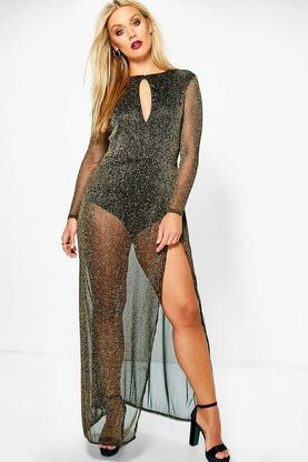 Plus Rosanna Sheer Glitter Maxi Dress
