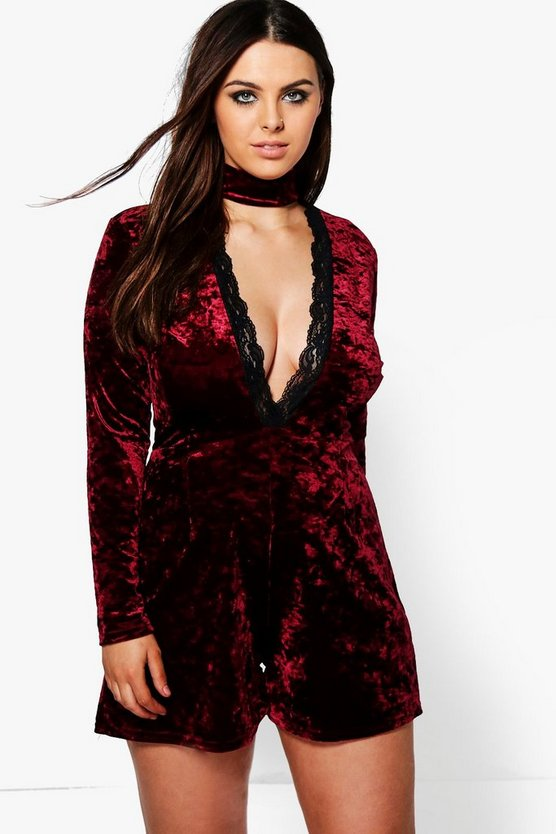 Plus Nicola Velvet Plunge Playsuit